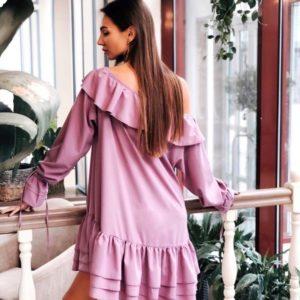 Приобрести лиловое женское оversize платье с рюшами на одно плечо по низким ценам