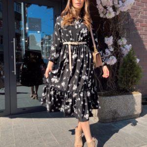 Заказать черное женское принтованное платье миди с длинным рукавом в Украине