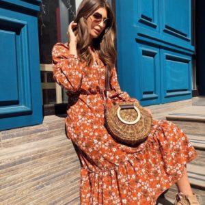 Купить терракот женское платье миди с завязкой на шее в цветочный принт выгодно
