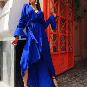 Купить синее женское длинное платье на запах с рукавами-колокольчиками в Одессе