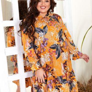Заказать желтое женское свободное принтованное платье с длинным рукавом (размер 42-60) по скидке
