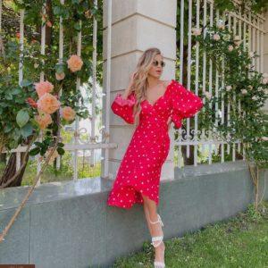 Купить розовое женское платье миди в горох с объемными рукавами (размер 42-52) хорошего качества