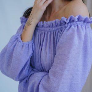 Приобрести лиловый женское хлопковое платье миди с открытыми плечами и длинным рукавом онлайн