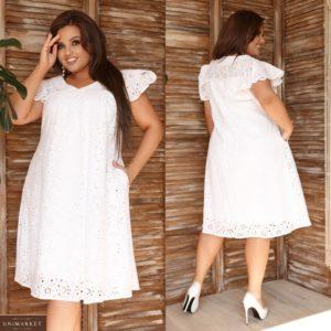 Заказать белое женское летнее oversize платье из прошвы с рукавами-бабочками (размер 48-62) по скидке