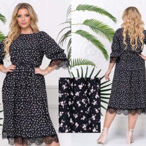 Заказать черное женское платье миди с кружевом в мелкий цветочный принт (размер 48-58) по низким ценам