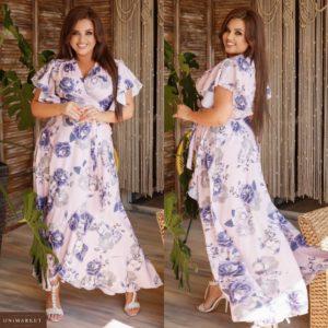 Купить белое женское асимметричное платье миди с нежными рукавами (размер 48-62) недорого