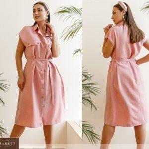 Приобрести розовое женское льняное платье на пуговицах с поясом (размер 42-58) по скидке