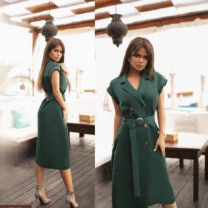 Заказать изумрудное женское двубортное платье миди с поясом (размер 42-58) выгодно