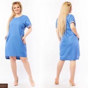 Заказать джинс женское платье из льна со стразами (размер 50-64) онлайн