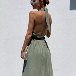 Заказать оливка женское платье-трансформер с поясом длины миди недорого