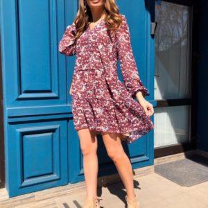 Приобрести бордовое женское шифоновое платье oversize с V-образным вырезом по скидке