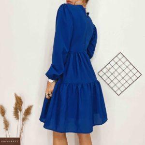 Приобрести синее женское хлопковое платье с воланами с длинным рукавом хорошего качества