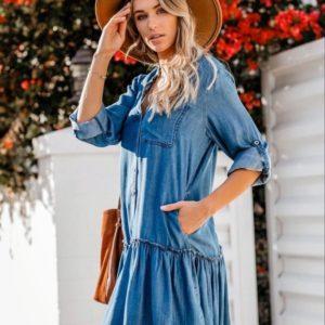 Купить синее женское летнее джинсовое платье-рубашка свободного кроя (размер 42-48) онлайн