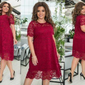 Купить бордо женское кружевное платье свободного кроя с коротким рукавом (размер 48-58) выгодно