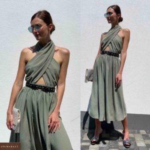 Купить оливка женское платье-трансформер с поясом длины миди по низким ценам