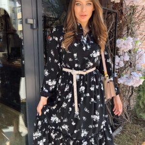 Заказать черное женское принтованное платье миди с длинным рукавом выгодно