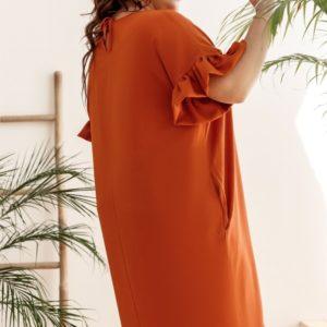 Приобрести оранж женское свободное платье миди с акцентом на рукавах (размер 42-58) хорошего качества
