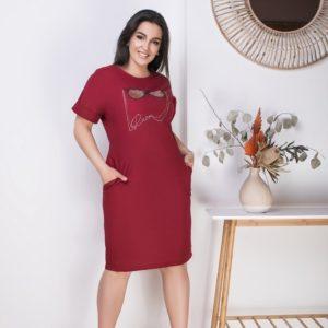 Купить бордо женское летнее стрейчевое платье из льна (размер 50-64) хорошего качества