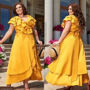 Заказать горчичное женское хлопковое платье в пол с рюшами (размер 48-66) в Украине