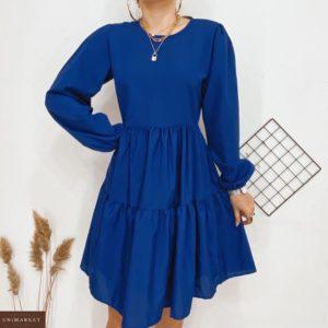 Заказать синее женское хлопковое платье с воланами с длинным рукавом в интернете