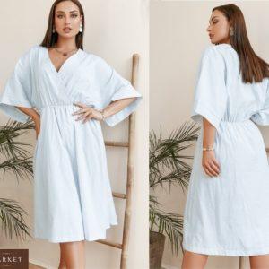 Купить голубое женское хлопковое платье в вертикальную полоску с широкими рукавами (размер 42-58) в интернет-магазине