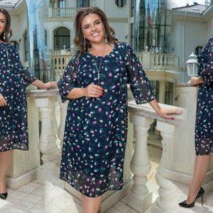 Приоьрести синее женское платье свободного силуэта из шифона на подкладке (размер 50-60) по специальным предложениям