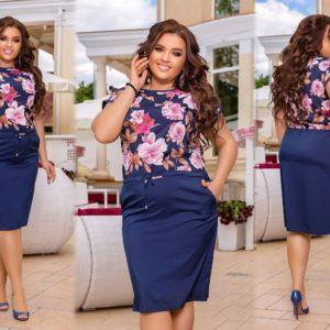 Купить синее женское платье прилегающего силуэта с завязками на поясе (размер 50-60) выгодно