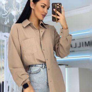 Купить мокко женскую рубашку на кнопках с карманом на груди из льна по низким ценам