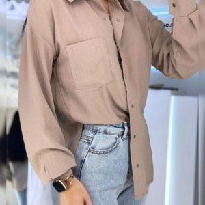 Приобрести мокко женскую рубашку на кнопках с карманом на груди из льна хорошего качества
