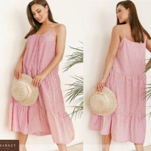 Купить розовый женский летний сарафан на тонких бретельках в вертикальную полоску (размер 42-58) по низким ценам