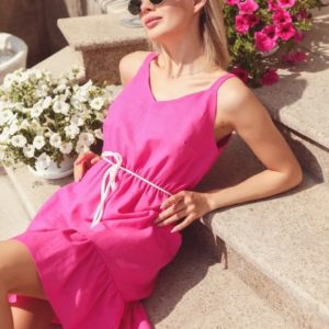 Заказать розовый женский летний сарафан из натурального льна на бретельках (размер 42-48) выгодно