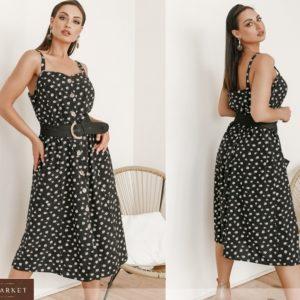 Купить черный женский летний сарафан на пуговицах с карманами (размер 42-58) выгодно