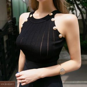 Замовити чорний жіночий трикотажний топ з заклепками онлайн вигідно
