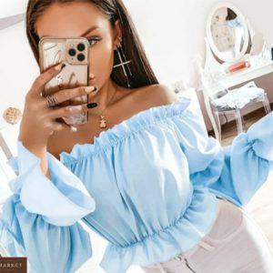 Купити блакитний жіночий літній топ з воланами і відкритими плечима онлайн