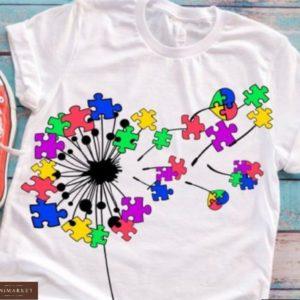 Купить белую женскую футболку с принтом одуванчик с сердцем, пазлами онлайн
