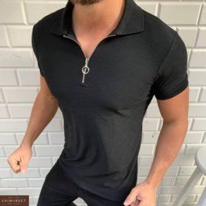 Приобрети черную мужскую футболку поло из хлопка на змейке (размер 48-54) недорого