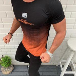 Купить черную мужскую стрейчевую футболку с градиентом (размер 48-54) выгодно