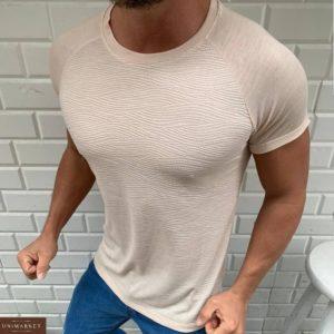 Приобрести бежевую мужскую структурную футболку волнами с рукавом реглан (размер 48-54) выгодно
