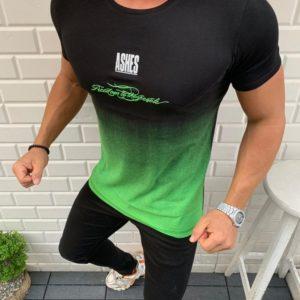 Приобрести зеленую мужскую стрейчевую футболку с градиентом (размер 48-54) по низким ценам