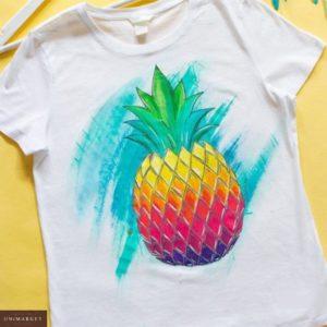 Заказать белую женскую футболку с принтом ананас в Украине