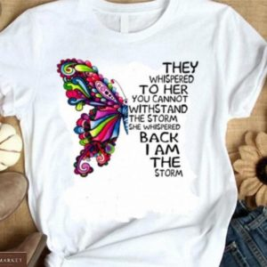 Купить белую женскую футболку с принтом насекомые (бабочка, стрекоза) в интернете