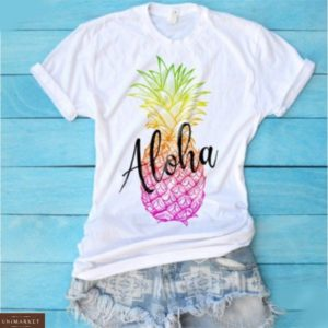 Приобрести белую женскую футболку с принтом ананас в Днепре, Львове