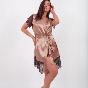 Заказать беж женский шелковый халат в кружевом с коротким рукавом (размер 42-54) в Украине