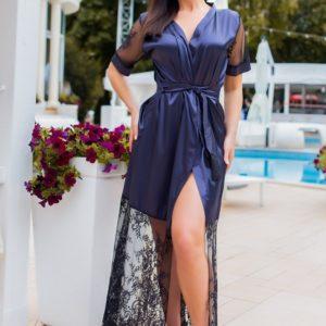 Купить синий женский длинный халат со вставками из кружева на поясе (размер 42-54) в Украине
