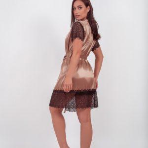 Купить бежевый женский шелковый халат в кружевом с коротким рукавом (размер 42-54) по скидке