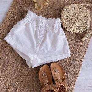 Придбати жіночі білі джинсові шорти баггі з поясом на гумці в Україні