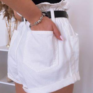 Купити жіночі білі джинсові шорти баггі з поясом на гумці онлайн