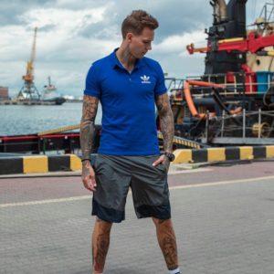 Купить серые мужские двухцветные шорты из плащевки на резинке (размер 46-54) выгодно