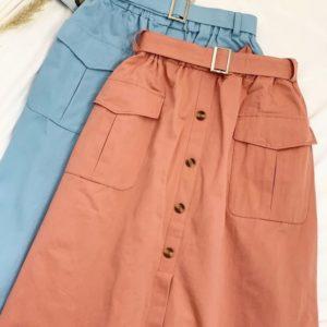 Купить голубую, кирпичную женскую хлопковую юбку на резинке с поясом и карманами дешево