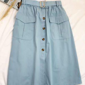 Заказать голубую женскую хлопковую юбку на резинке с поясом и карманами онлайн